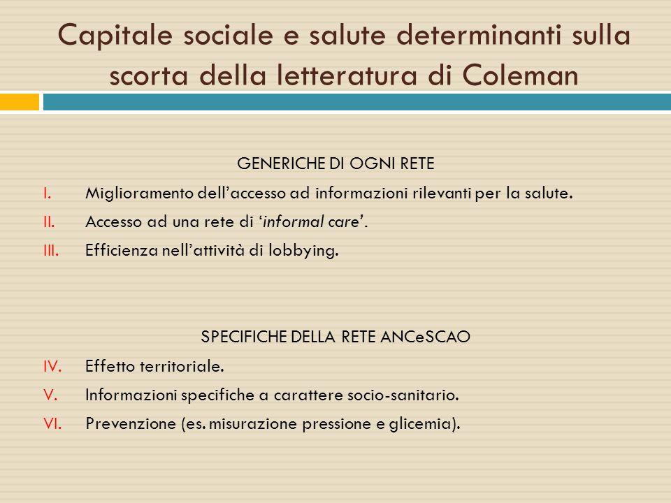 Capitale sociale e salute determinanti sulla scorta della letteratura di Coleman GENERICHE DI OGNI RETE I. Miglioramento dell'accesso ad informazioni