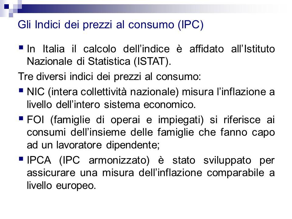 Gli Indici dei prezzi al consumo (IPC)  In Italia il calcolo dell'indice è affidato all'Istituto Nazionale di Statistica (ISTAT). Tre diversi indici