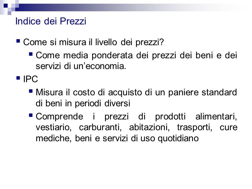 Indice dei Prezzi  Come si misura il livello dei prezzi?  Come media ponderata dei prezzi dei beni e dei servizi di un'economia.  IPC  Misura il c