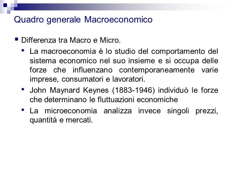 Quadro generale Macroeconomico  Differenza tra Macro e Micro. La macroeconomia è lo studio del comportamento del sistema economico nel suo insieme e