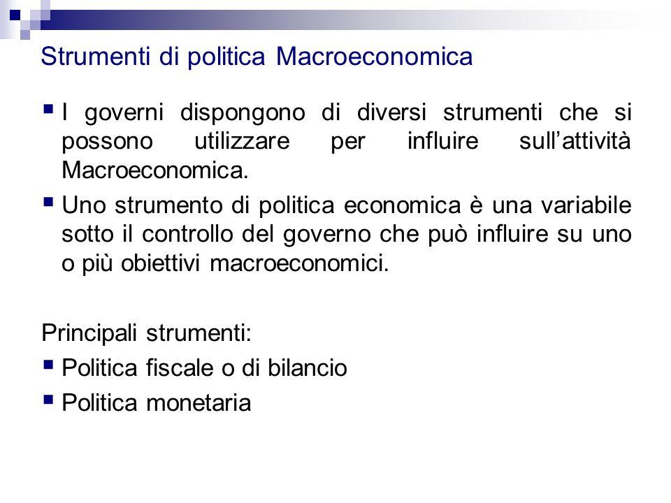 Strumenti di politica Macroeconomica  I governi dispongono di diversi strumenti che si possono utilizzare per influire sull'attività Macroeconomica.