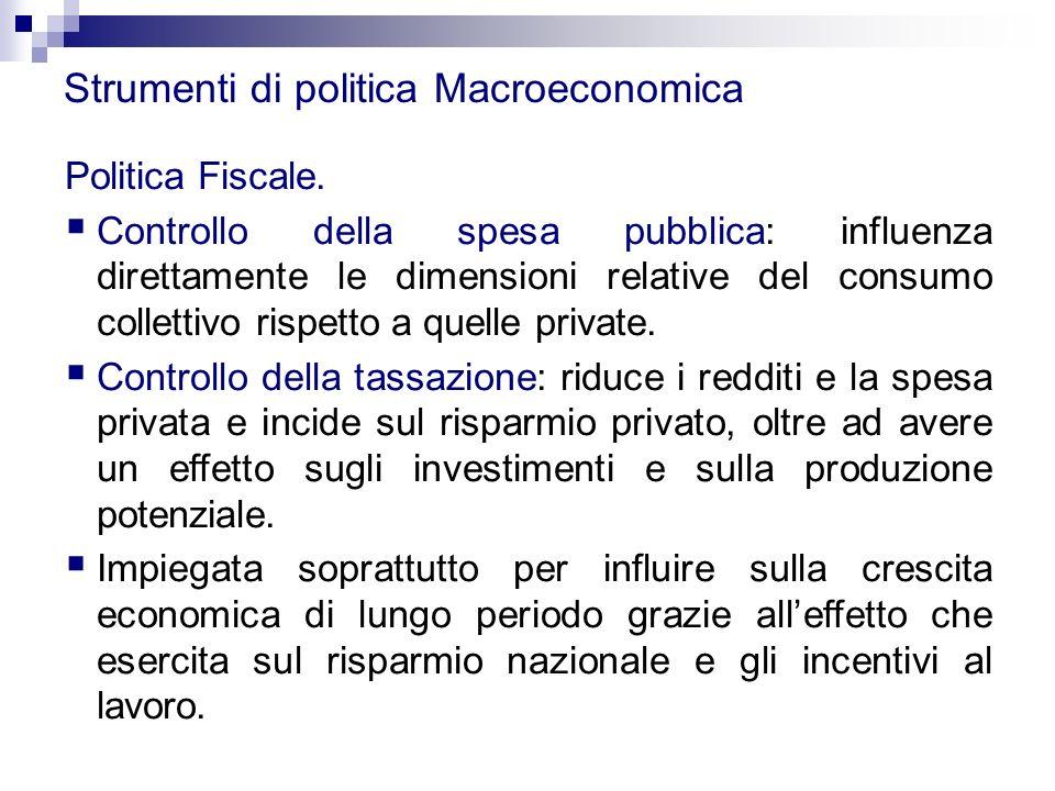 Strumenti di politica Macroeconomica Politica Fiscale.  Controllo della spesa pubblica: influenza direttamente le dimensioni relative del consumo col