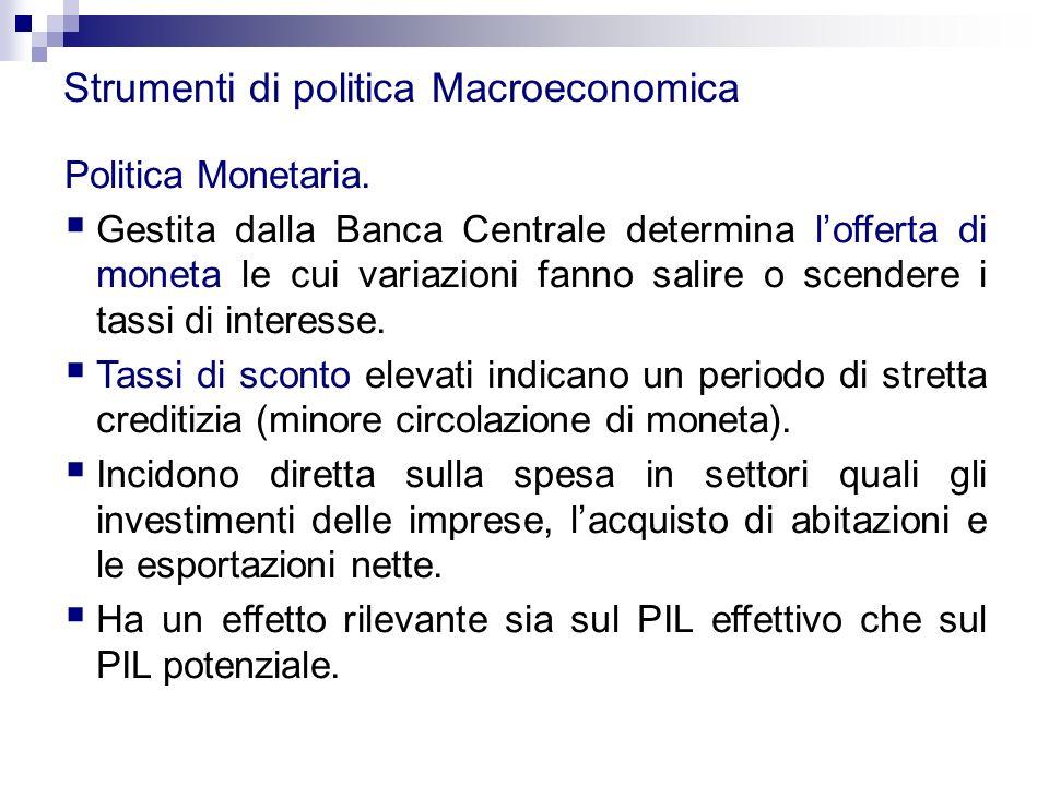 Strumenti di politica Macroeconomica Politica Monetaria.  Gestita dalla Banca Centrale determina l'offerta di moneta le cui variazioni fanno salire o