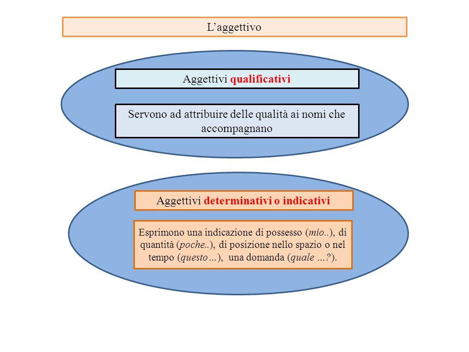 L'aggettivo Aggettivi qualificativi Servono ad attribuire delle qualità ai nomi che accompagnano Aggettivi determinativi o indicativi Esprimono una in
