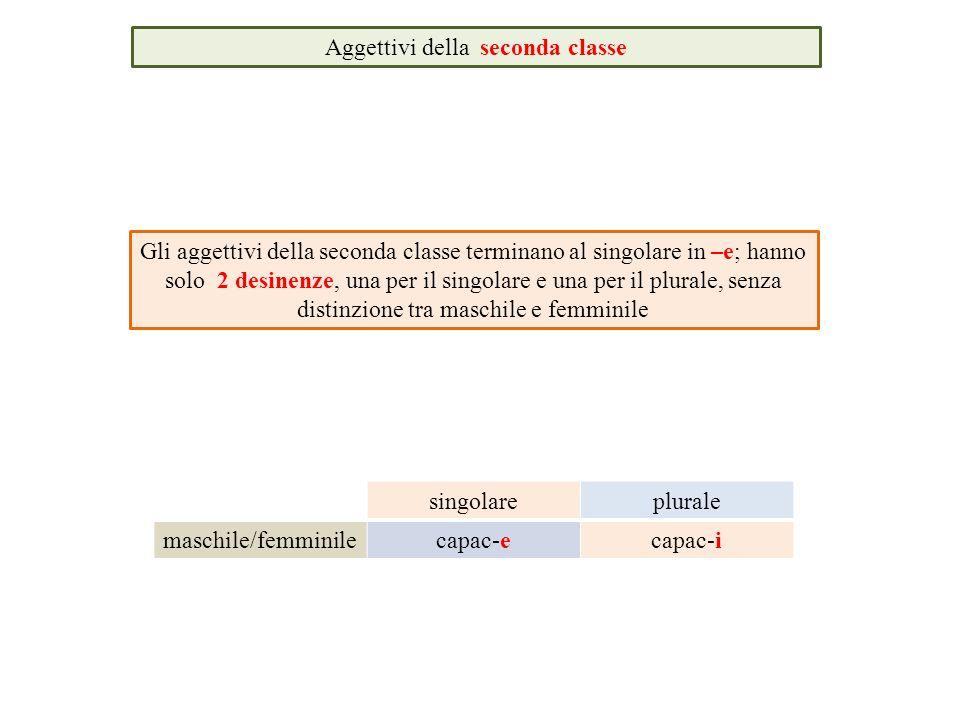 Aggettivi della seconda classe Gli aggettivi della seconda classe terminano al singolare in –e; hanno solo 2 desinenze, una per il singolare e una per