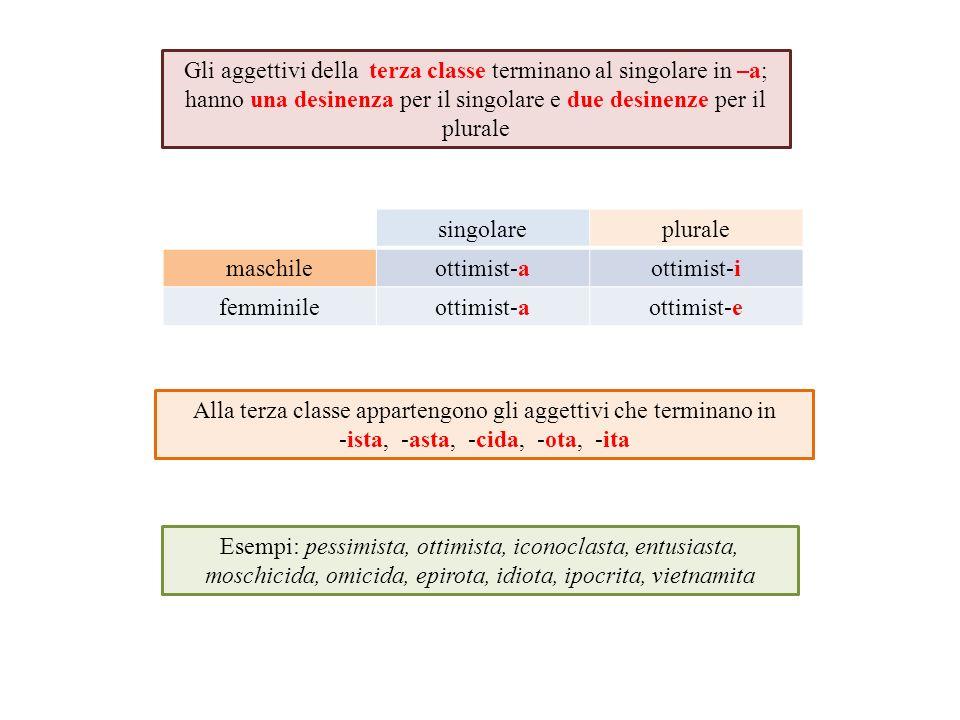Gli aggettivi della terza classe terminano al singolare in –a; hanno una desinenza per il singolare e due desinenze per il plurale singolareplurale ma