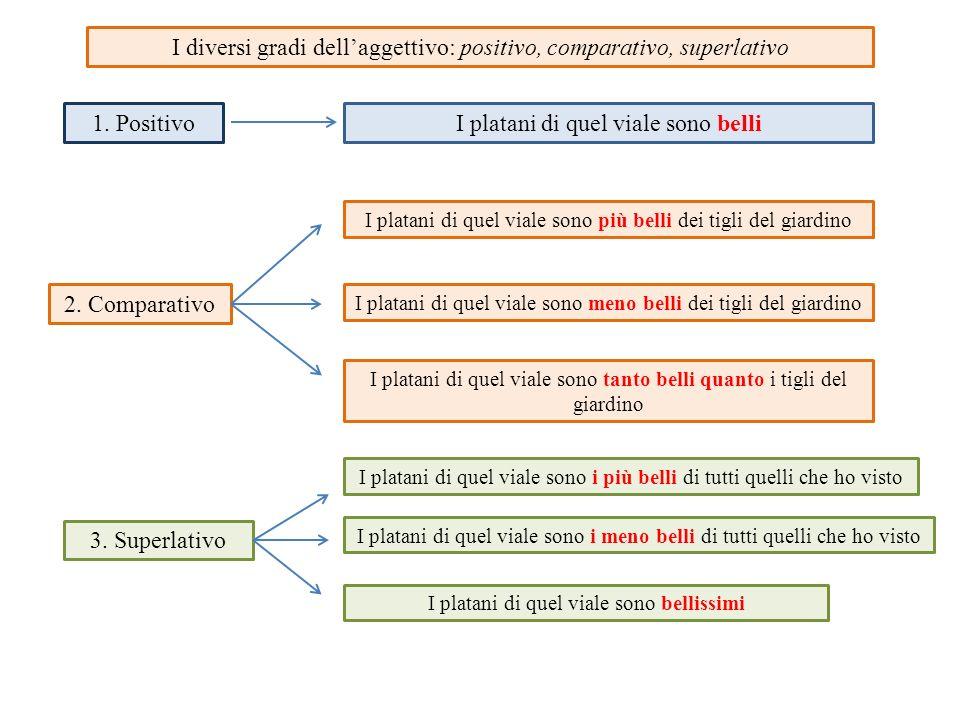 I diversi gradi dell'aggettivo: positivo, comparativo, superlativo 1. PositivoI platani di quel viale sono belli 2. Comparativo I platani di quel vial