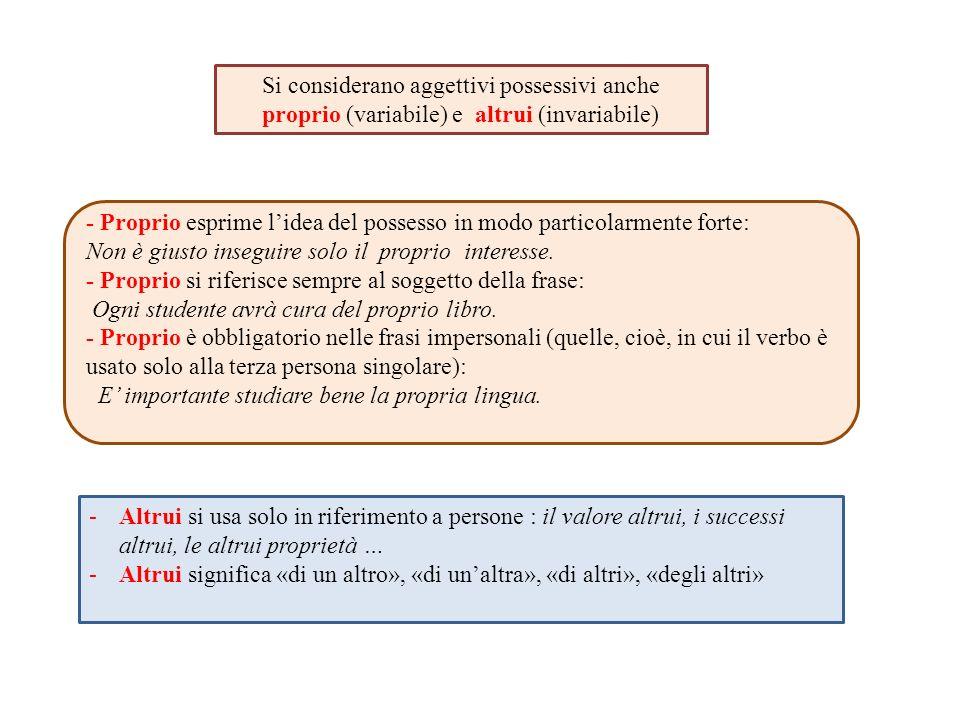 Si considerano aggettivi possessivi anche proprio (variabile) e altrui (invariabile) - Proprio esprime l'idea del possesso in modo particolarmente for