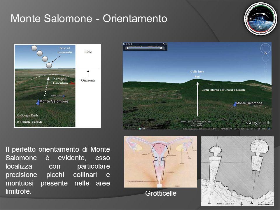 Monte Salomone - Orientamento Il perfetto orientamento di Monte Salomone è evidente, esso localizza con particolare precisione picchi collinari e mont
