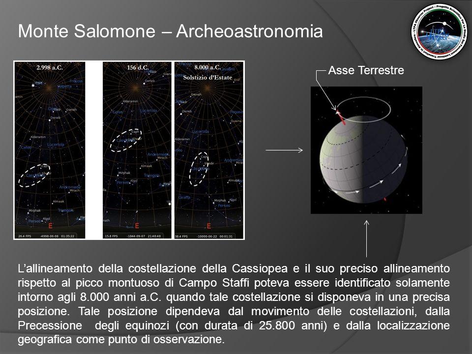 Monte Salomone – Archeoastronomia L'allineamento della costellazione della Cassiopea e il suo preciso allineamento rispetto al picco montuoso di Campo