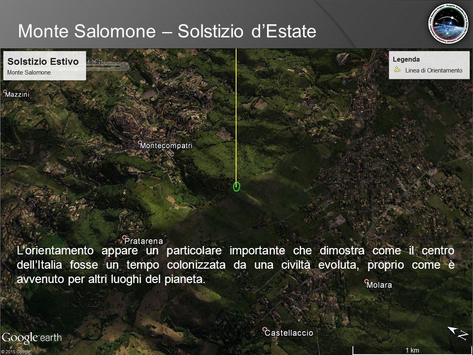 Monte Salomone – Solstizio d'Estate L'orientamento appare un particolare importante che dimostra come il centro dell'Italia fosse un tempo colonizzata