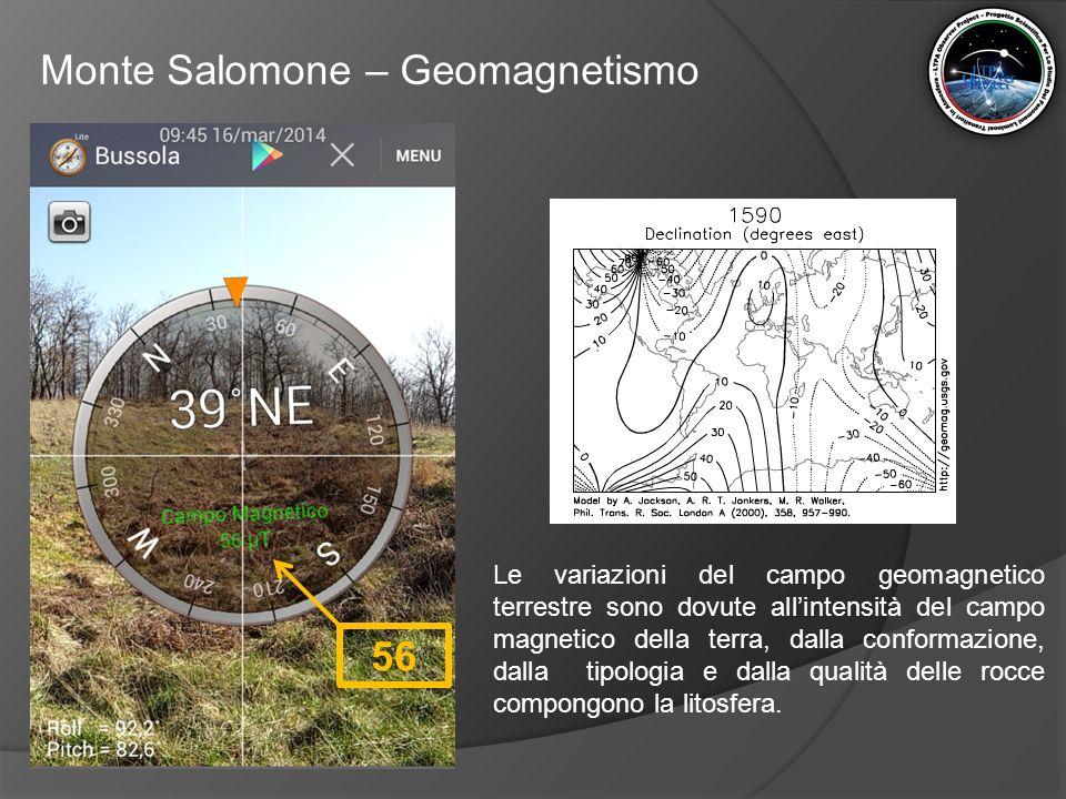 Monte Salomone – Geomagnetismo 56 Le variazioni del campo geomagnetico terrestre sono dovute all'intensità del campo magnetico della terra, dalla conf