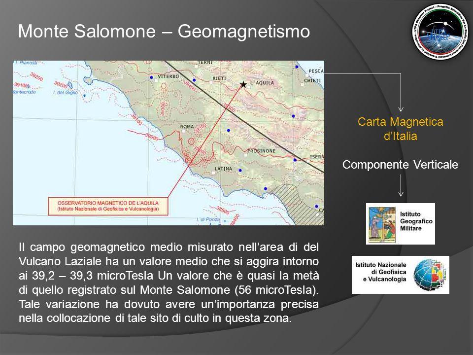 Monte Salomone – Geomagnetismo Il campo geomagnetico medio misurato nell'area di del Vulcano Laziale ha un valore medio che si aggira intorno ai 39,2