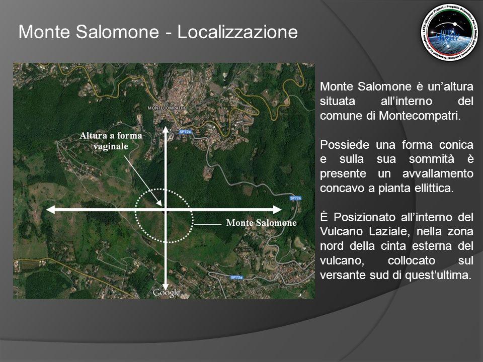 Monte Salomone - Localizzazione Da uno studio realizzato da dall'autore, anche il Monte Salomone, come altri siti archeologici presenti nell'area del Vulcano Laziale, risulta orientato rispetto ai punti cardinali e rispetto ad altri luoghi di importanza storica compresi nell'area sopracitata.