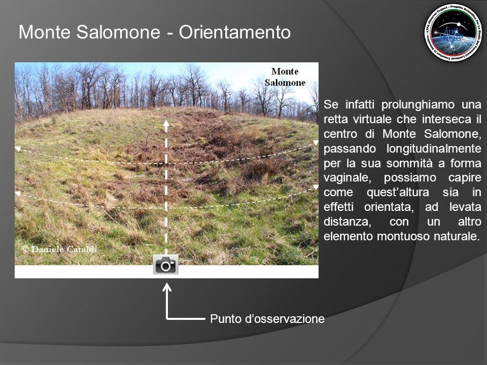 Monte Salomone - Orientamento Se infatti prolunghiamo una retta virtuale che interseca il centro di Monte Salomone, passando longitudinalmente per la