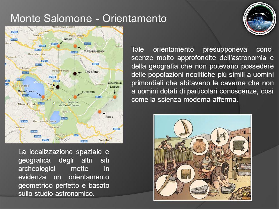 Monte Salomone - Orientamento La localizzazione spaziale e geografica degli altri siti archeologici mette in evidenza un orientamento geometrico perfe