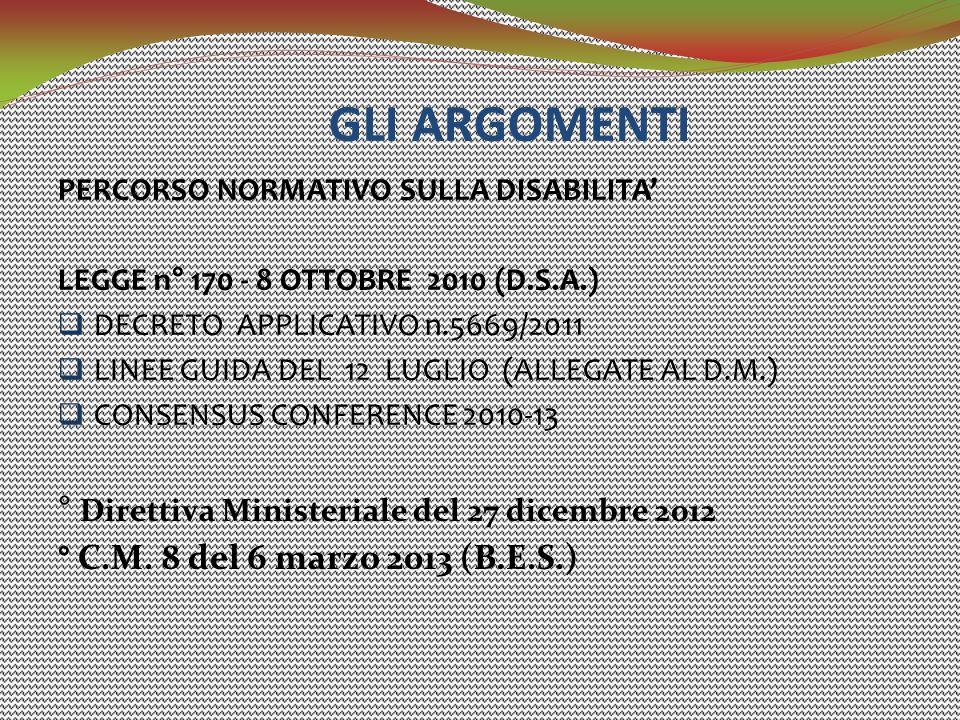 GLI ARGOMENTI PERCORSO NORMATIVO SULLA DISABILITA' LEGGE n° 170 - 8 OTTOBRE 2010 (D.S.A.)  DECRETO APPLICATIVO n.5669/2011  LINEE GUIDA DEL 12 LUGLI