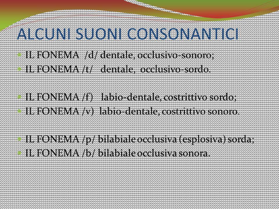 ALCUNI SUONI CONSONANTICI IL FONEMA /d/ dentale, occlusivo-sonoro; IL FONEMA /t/ dentale, occlusivo-sordo. IL FONEMA /f) labio-dentale, costrittivo so