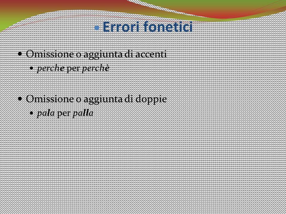 Omissione o aggiunta di accenti perche per perchè Omissione o aggiunta di doppie pala per palla  Errori fonetici
