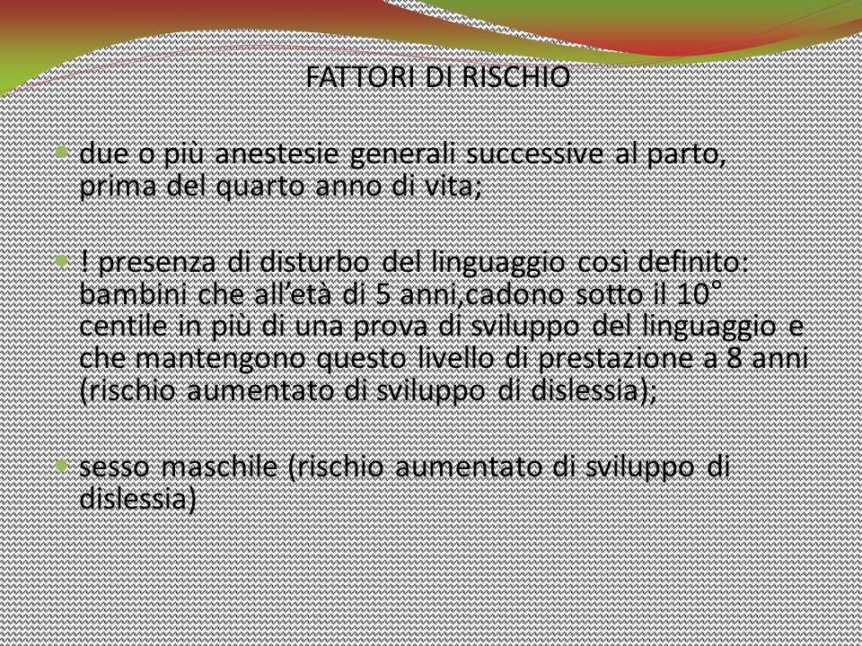 FATTORI DI RISCHIO due o più anestesie generali successive al parto, prima del quarto anno di vita; ! presenza di disturbo del linguaggio così definit