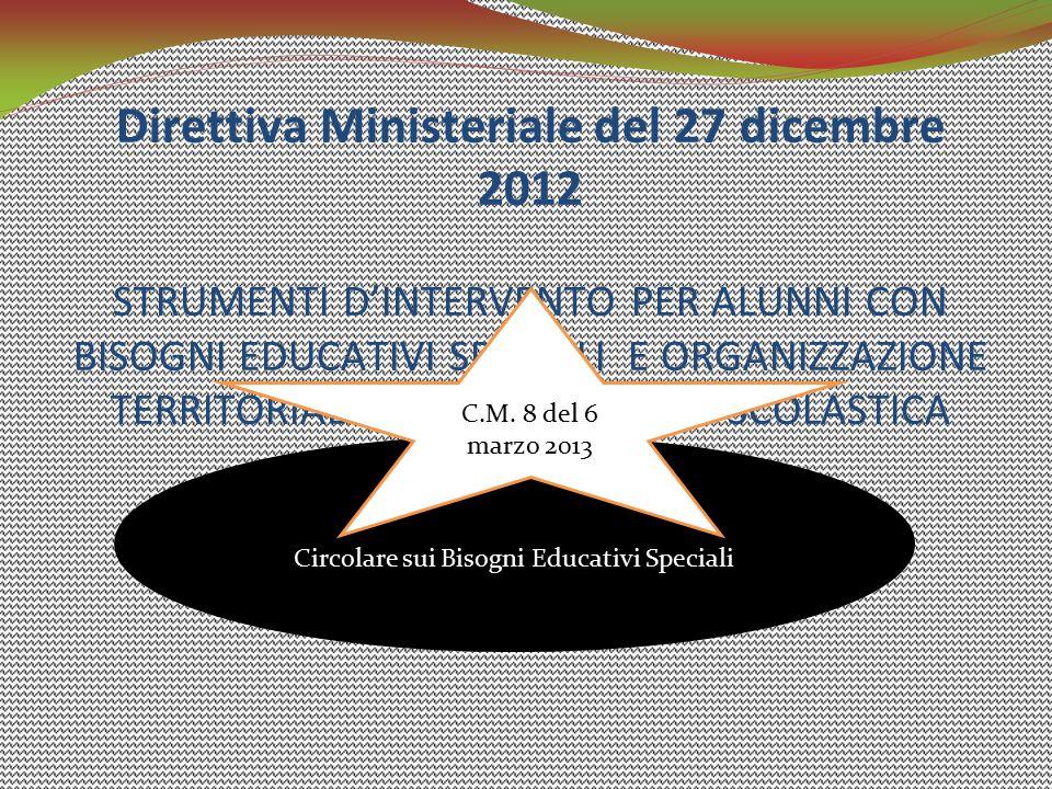Direttiva Ministeriale del 27 dicembre 2012 STRUMENTI D'INTERVENTO PER ALUNNI CON BISOGNI EDUCATIVI SPECIALI E ORGANIZZAZIONE TERRITORIALE PER L'INCLU