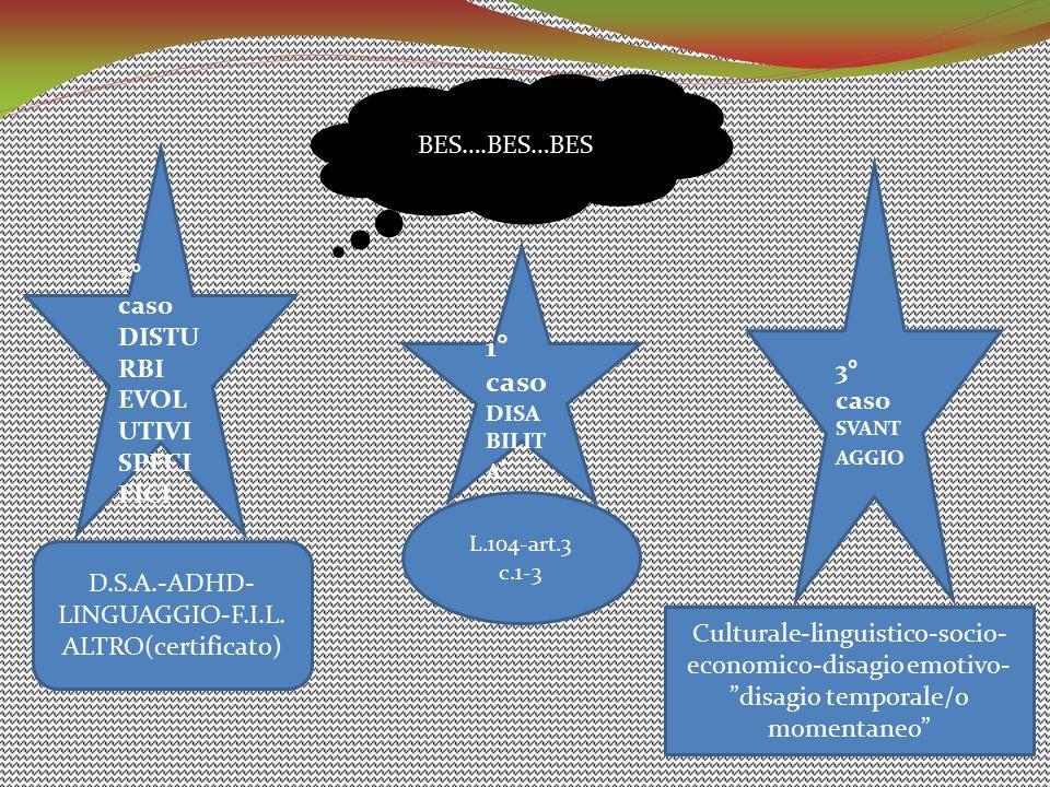 1° caso DISA BILIT A ' BES….BES…BES 2° caso DISTU RBI EVOL UTIVI SPECI FICI 3° caso SVANT AGGIO D.S.A.-ADHD- LINGUAGGIO-F.I.L. ALTRO(certificato) L.10