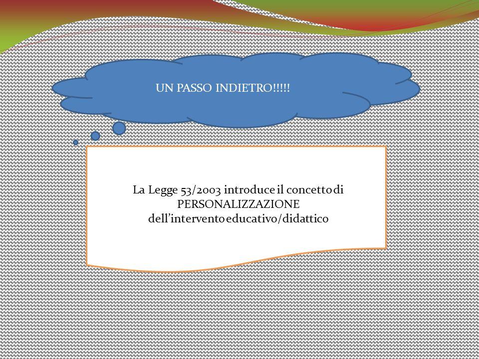 UN PASSO INDIETRO!!!!! La Legge 53/2003 introduce il concetto di PERSONALIZZAZIONE dell'intervento educativo/didattico