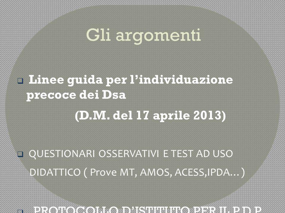 Linee guida per l'individuazione precoce dei Dsa  (D.M.