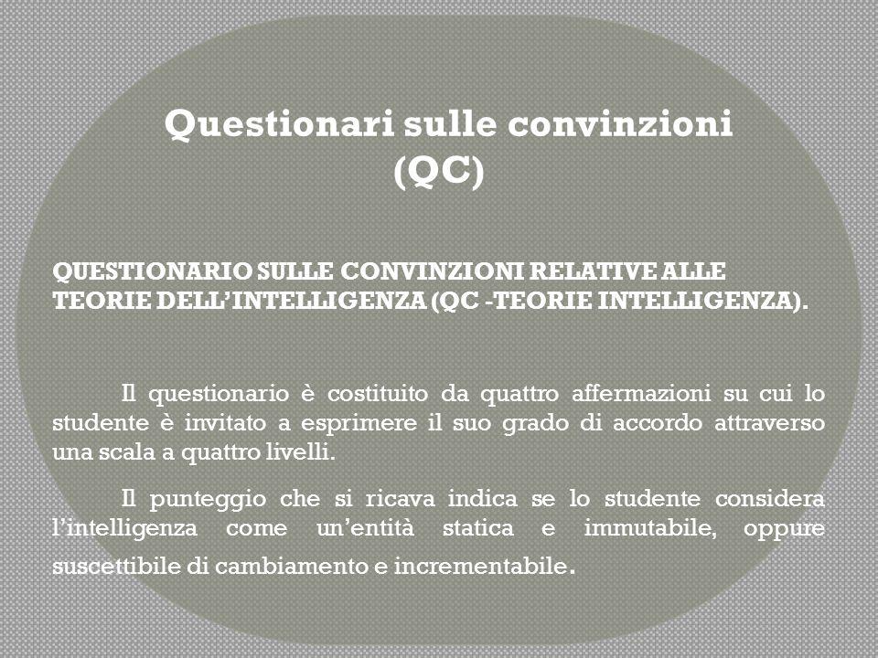 QUESTIONARIO SULLE CONVINZIONI RELATIVE ALLA FIDUCIA NELLA PROPRIA INTELLIGENZA E ABILITÀ (QC2F FIDUCIA) È costituito da tre coppie di affermazioni.