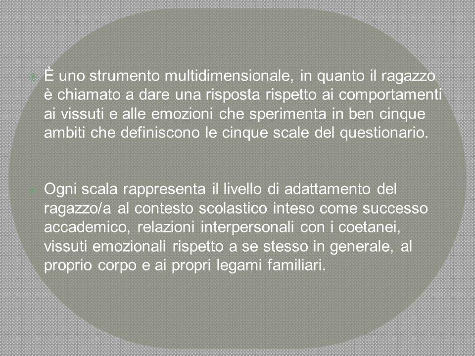 LE SCALE  L'ACESS E' COMPOSTO DA 5 SCALE:  1.ADATTAMENTO SCOLASTICO;  2.