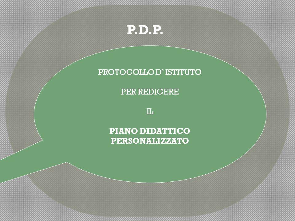 PROTOCCOLO D'ISTITUTO P.D.P. MODELLO DI RICHIESTA P.D.P.