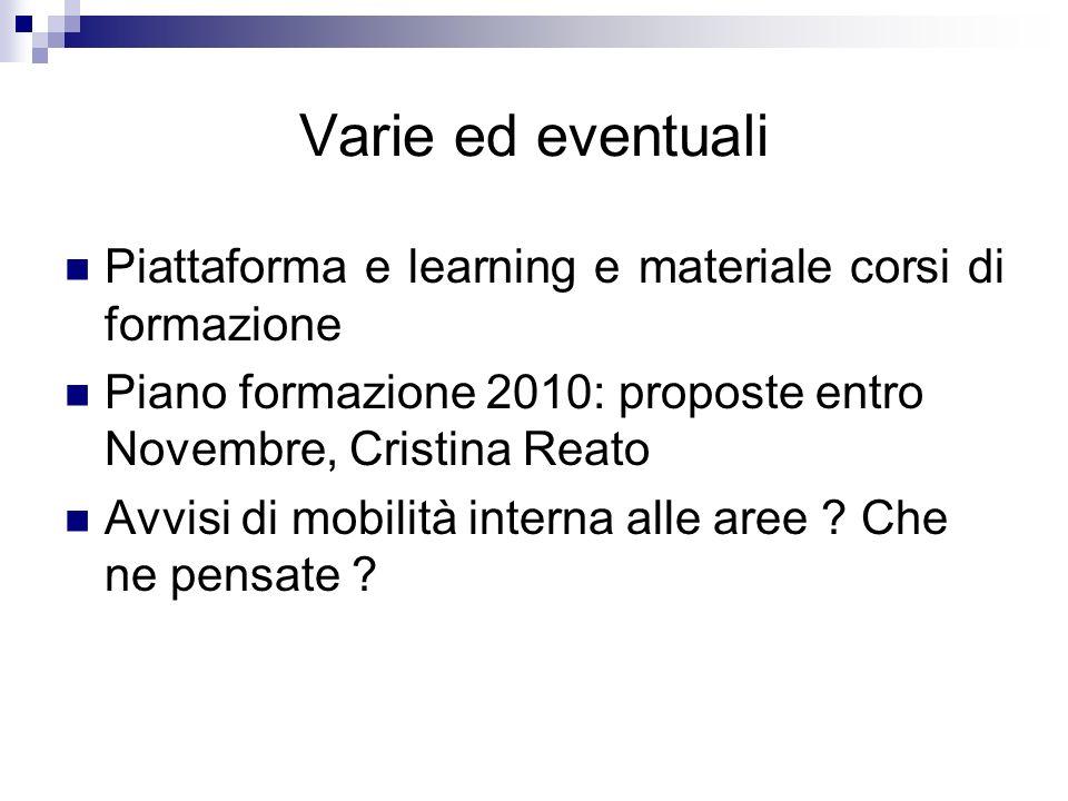 Varie ed eventuali Piattaforma e learning e materiale corsi di formazione Piano formazione 2010: proposte entro Novembre, Cristina Reato Avvisi di mobilità interna alle aree .