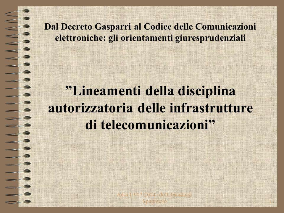 Aesa 19/07/2004 - dott.Gianluigi Spagnuolo11 Infrastrutture di telecomunicazioni (Art.