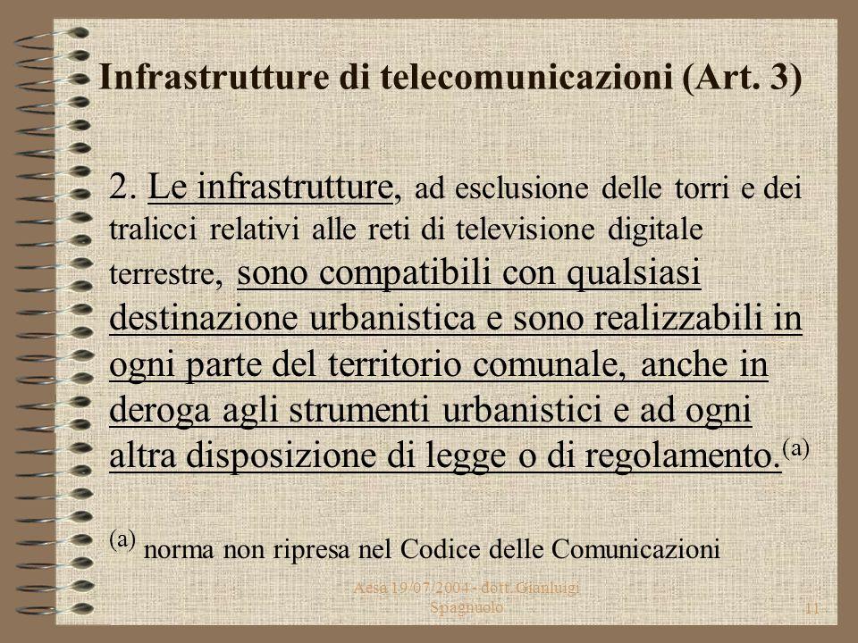 Aesa 19/07/2004 - dott. Gianluigi Spagnuolo10 Infrastrutture di telecomunicazioni (Art. 3) 1. Le infrastrutture di telecomunicazioni, considerate stra