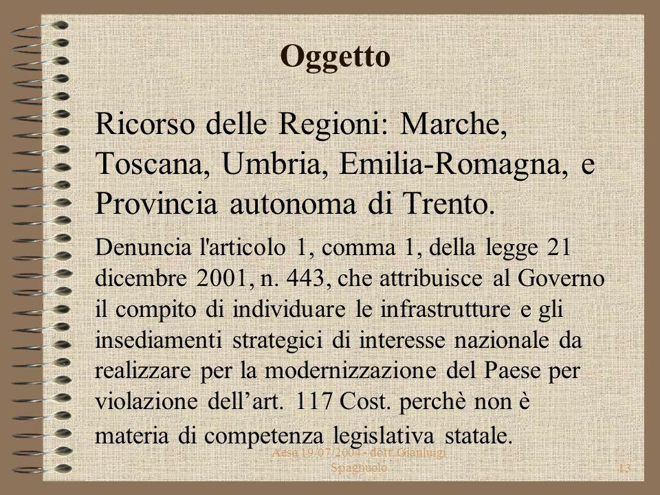 Aesa 19/07/2004 - dott. Gianluigi Spagnuolo12 Corte Costituzionale Sentenza 303 del 01/10/2003 Incostituzionalità del Decreto Legislativo 4 settembre