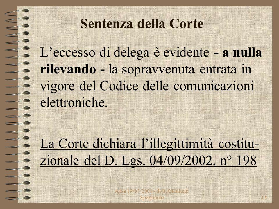 Aesa 19/07/2004 - dott. Gianluigi Spagnuolo14 Oggetto Ricorso delle Regioni: Campania, Basilicata, Marche, Toscana, Umbria, Emilia-Romagna, Lombardia.