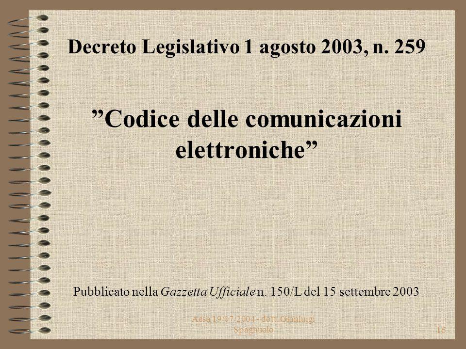 Aesa 19/07/2004 - dott. Gianluigi Spagnuolo15 Sentenza della Corte L'eccesso di delega è evidente - a nulla rilevando - la sopravvenuta entrata in vig