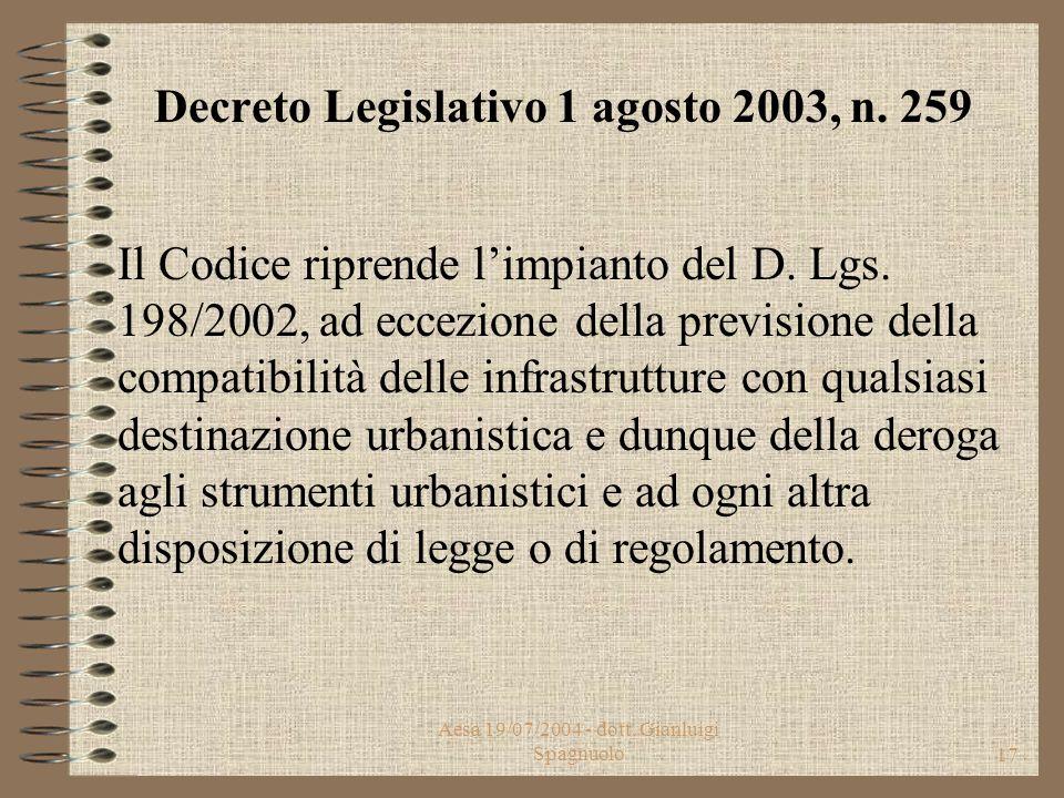 """Aesa 19/07/2004 - dott. Gianluigi Spagnuolo16 Decreto Legislativo 1 agosto 2003, n. 259 """"Codice delle comunicazioni elettroniche"""" Pubblicato nella Gaz"""