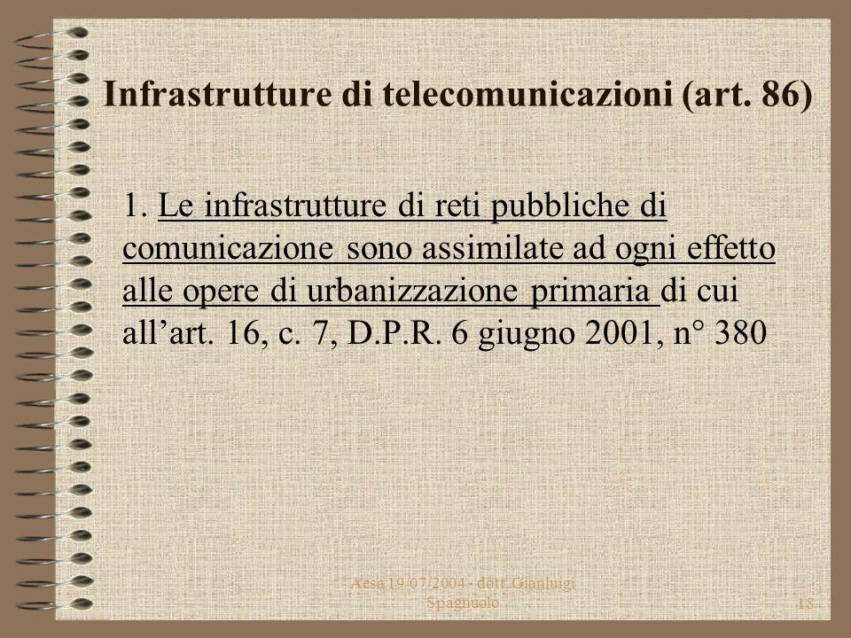 Aesa 19/07/2004 - dott. Gianluigi Spagnuolo17 Decreto Legislativo 1 agosto 2003, n. 259 Il Codice riprende l'impianto del D. Lgs. 198/2002, ad eccezio