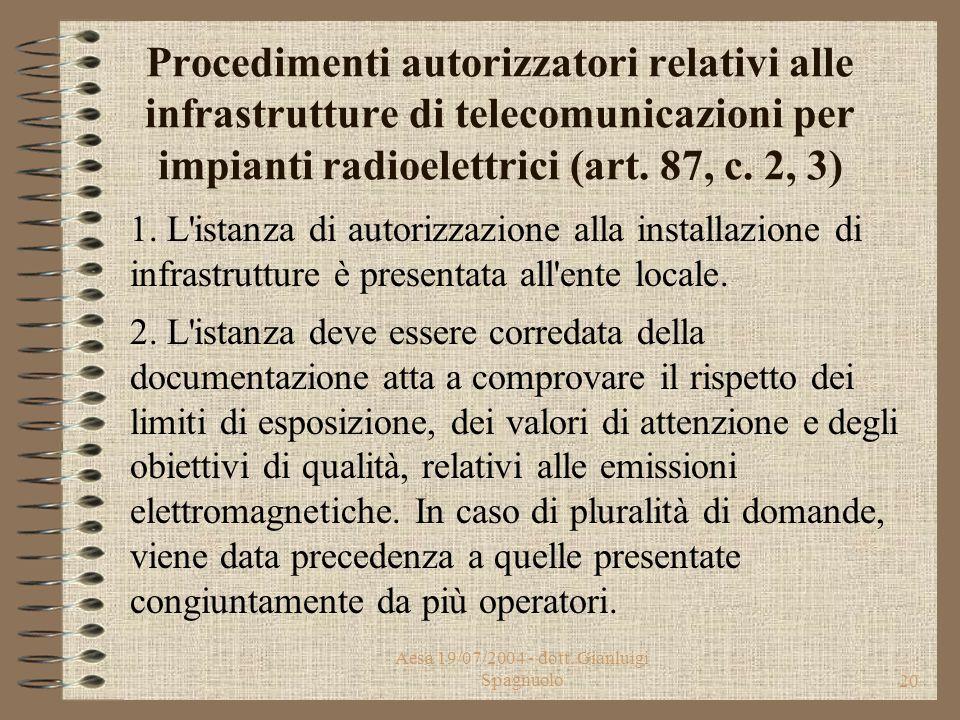 Aesa 19/07/2004 - dott. Gianluigi Spagnuolo19 Infrastrutture di telecomunicazioni per impianti radioelettrici (Art. 87, c. 1) 1. L'installazione di in