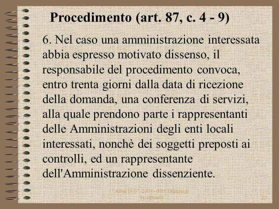 Aesa 19/07/2004 - dott. Gianluigi Spagnuolo22 4. Copia dell'istanza o della denuncia viene inoltrata contestualmente all'ARPA, che si pronuncia entro