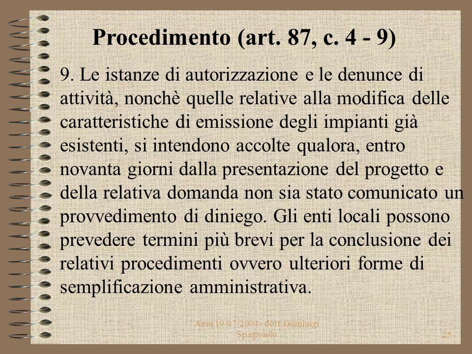 Aesa 19/07/2004 - dott. Gianluigi Spagnuolo24 7. La conferenza di servizi deve pronunciarsi entro trenta giorni dalla prima convocazione. L'approvazio