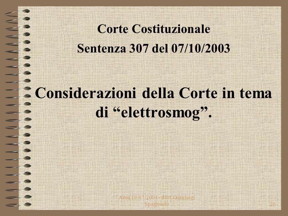 Aesa 19/07/2004 - dott. Gianluigi Spagnuolo25 9. Le istanze di autorizzazione e le denunce di attività, nonchè quelle relative alla modifica delle car