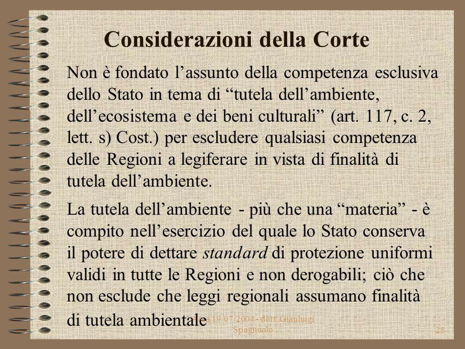 Aesa 19/07/2004 - dott. Gianluigi Spagnuolo27 Oggetto Ricorso della Presidenza del Consiglio su alcune leggi regionali delle Regioni: Marche, Campania