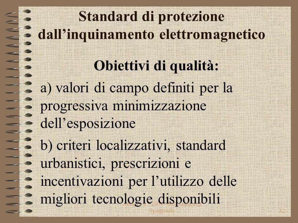 Aesa 19/07/2004 - dott. Gianluigi Spagnuolo31 Standard di protezione dall'inquinamento elettromagnetico Valori di attenzione: valori di campo da non s