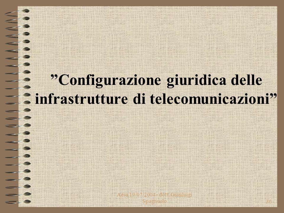 Aesa 19/07/2004 - dott. Gianluigi Spagnuolo35 Divieti specifici Il divieto di installazione di impianti su specifici edifici (ospedali, case di cura e