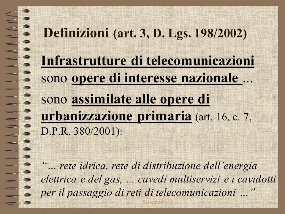 Aesa 19/07/2004 - dott. Gianluigi Spagnuolo37 Definizioni (art. 1, D. Lgs. 198/2002) Infrastrutture di telecomunicazioni considerate strategiche ai se