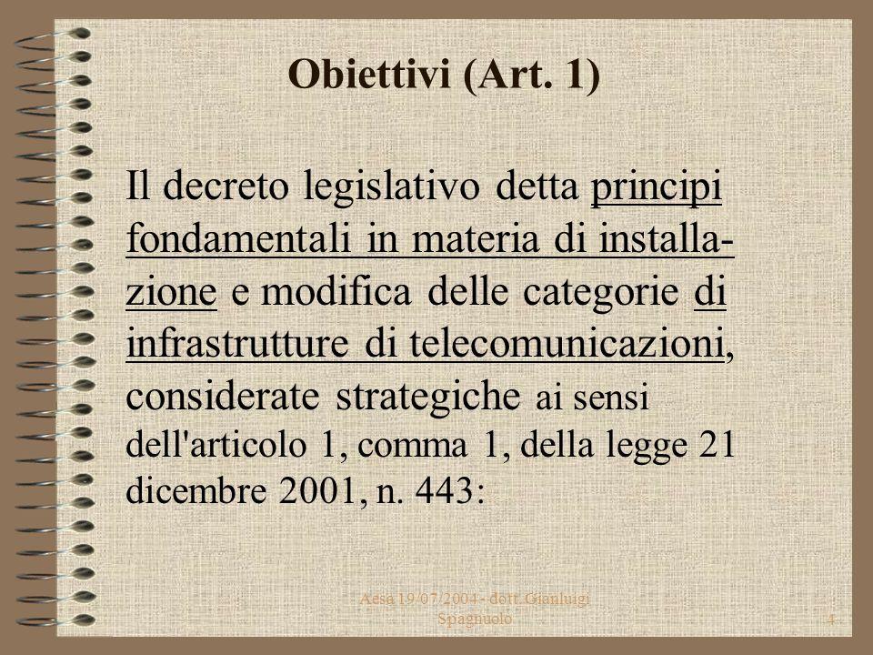 Aesa 19/07/2004 - dott.Gianluigi Spagnuolo4 Obiettivi (Art.