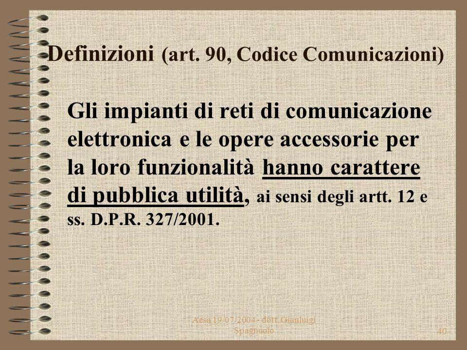 """Aesa 19/07/2004 - dott. Gianluigi Spagnuolo39 Definizioni (art. 3, Codice Comunicazioni) """"la fornitura di reti e servizi di comunicazione elettronica"""
