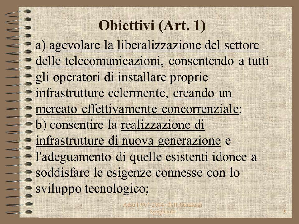 Aesa 19/07/2004 - dott. Gianluigi Spagnuolo4 Obiettivi (Art. 1) Il decreto legislativo detta principi fondamentali in materia di installa- zione e mod